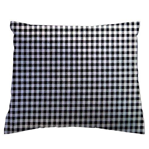 SheetWorld Crib/Toddler Percale Baby Pillow Case - Black Gingham Check -...