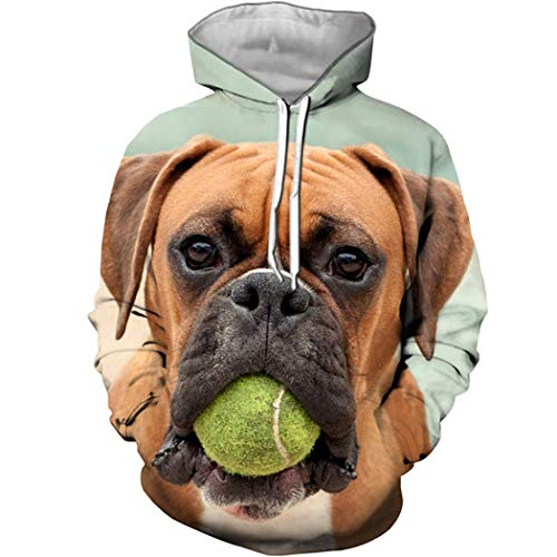 Bonitos Animales Boxer Dog 3D Print Hoodie Moda Anime Funny Dog Sudadera Forest Autumn Leaf Top Ropa de Navidad 7 XL