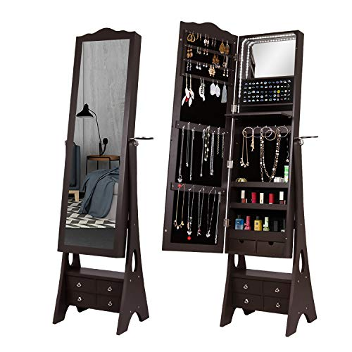 Floor Standing Jewelry Armoire79 LED Lights Jewelry Storage Cabinets6 Drawers Large Storage Organizer1 Inside Makeup Mirror3 Angle Adjustable Dark Brown