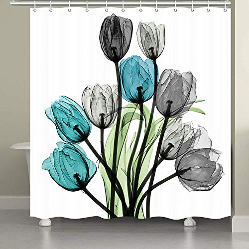 JAWO Flower Shower Curtain for Bathroom, Turquoise Gray Tulip Flowers Green Leaves on White Background Fabric Bath Curtains 69x70 Inches