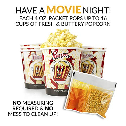 Product Image 6: Nostalgia KPP424 Best Tasting Premium 4-Ounce Popcorn, Oil & Seasoning Salt All-In-One Packs – 24 Count