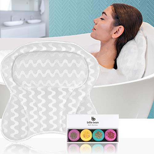 BILLIE BEAN Luxury Bath Pillow for Bathtub - 4 Bath Bombs Included - Extra Strong Suction Bath Pillows for Tub Neck and Back Support - A Relaxing Bathtub Pillow - Billie Bean Bath Accessories