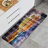 PATINISA Alfombra de Cocina,Abstracto Azul Negro Universo Estrellado Llama cósmica Burger Cat,Antideslizante Estera Cocina Lavable Alfombrillas Absorbentes Pasillo alfombras,120x45cm