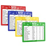 SunnyKeto Keto Diet Cheat Sheet Quick Guide Fridge Magnet Reference Charts for Ketogenic Diet Foods - Including Meat & Nuts, Fruit & Veg, Dairy, Oils & Condiments (Set of 4 Magnets)