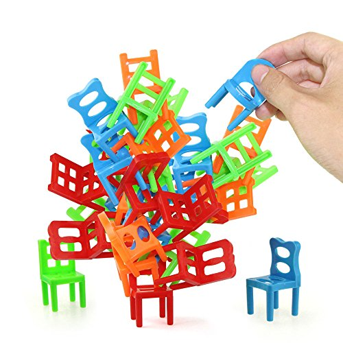 Jenilily Stacking Chairs Game Balancing Ladder Jenga Tower - Party Favor Toys - Pile-Up Suspend Family Board Games for Kids (18 Chairs Toys Set)