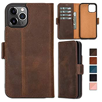 Bayelon Folio Leather Wallet Case for iPhone 12 Pro Max 6.7  ID Slot with RFID Flip Cover  Antique Dark Brown