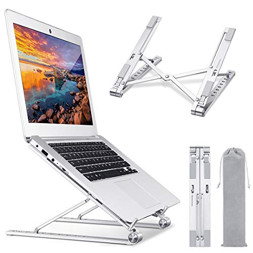 Homemaxs Portable Laptop Stand, Foldable Computer Stand, Adjustable Laptop Riser for Desk, MacBook Stand, Aluminium Ergonomic Laptop Holder Compatible with iPad, HP, Dell, Lenovo More 10-17 Laptops