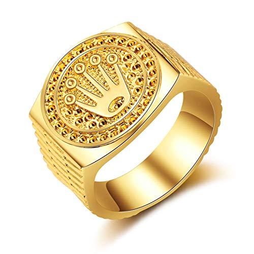 HasiDun Preferred Fashion Hip Hop 18K Gold Iced Out Crown Ring für Herren Verlobung Hochzeit Party Ringe Schmuck für Geburtstag, Valentinstag, Jahrestag (kein 11 Golden 11)