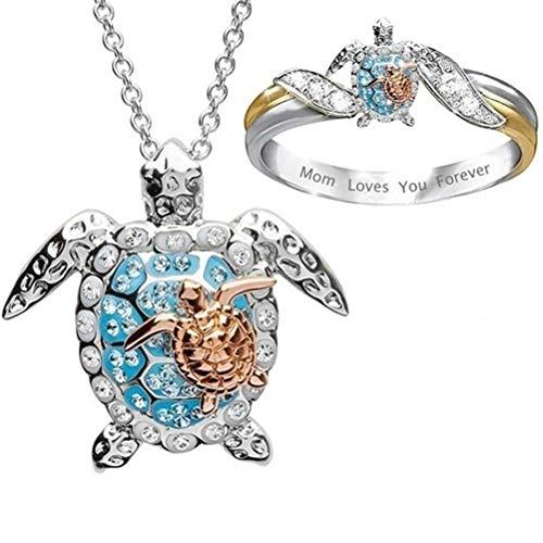 Wohenmang Anel de declaração de tartaruga e colar, conjunto de anel de tartaruga e colar - Mom Loves You Forever diamante microincrustado anel de dedo contém significados e desejos ricos