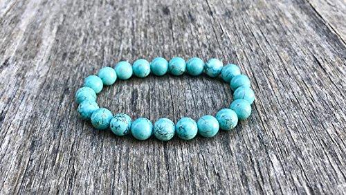 LOVEKUSH Rock Gift - Pulsera elástica de 8 mm, color azul howlita turquesa, redonda, lisa, 17,78 cm, para hombres, mujeres, gf, bf y adultos.