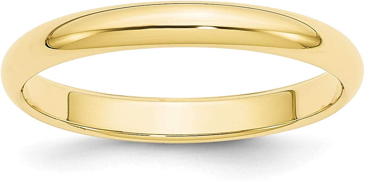 Solid 10k Yellow Gold 3 mm Half Round Wedding Band Ring