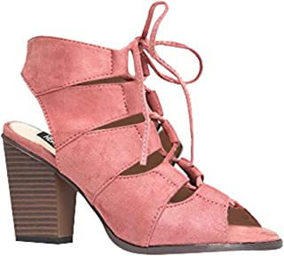 Gladiator Lace up High Heel - Chunky Wood Block Bootie - Trendy Casual Tie Up Wedge Sandal Classic Comfortable Walking Shoes