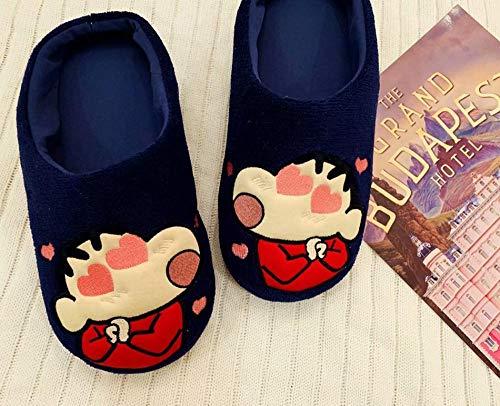 ypyrhh Zapatillas antideslizantes para interiores y exteriores, de algodón silencioso con dibujos animados, zapatillas de interior cálidas de Lan Xiaoxin_36-42, para mujer