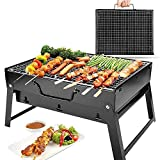 Ngel Charcoal BBQ Grill Oven Black Carbon Steel,Folding Portable Outdoor Barbeque Charcoal Grill Oven