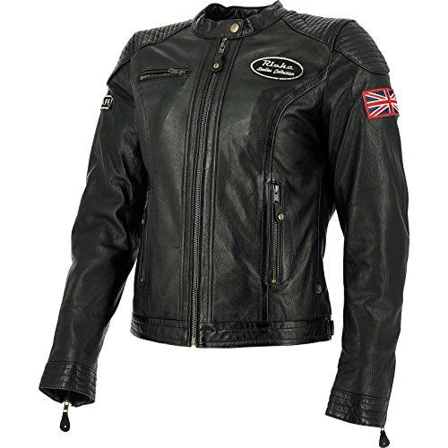 1STUD100-42 - Richa Sturgis Ladies Leather Motorcycle Jacket 42 Black (UK 14)