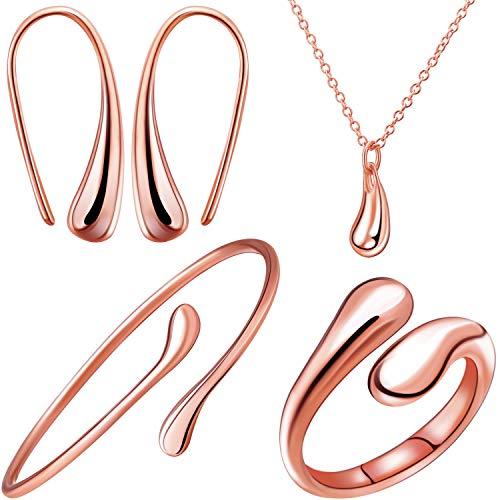 Wasser Tropfen Halskette Ohrringe Armreif Set Wassertropfen Tropfen Baumeln Angelhaken Ohrring (Rose Gold)