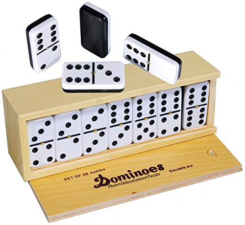 Games Dominoes Double 6 Tournament Size Two Toned with Spinner Center Rivets in Wooden case