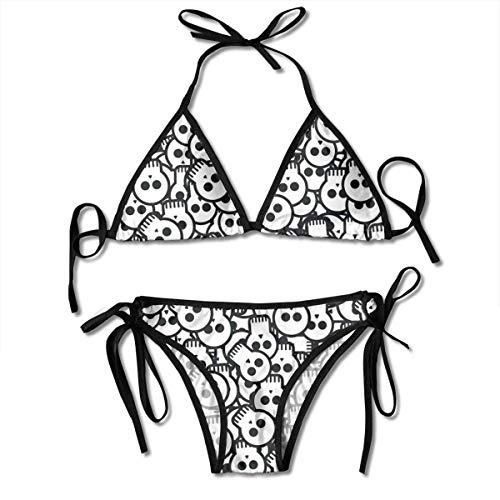 Sexy Triangle Bathing Two Pieces Women's Tie Side Bottom Padded Halloween Skulls Printing Triangle Bikini Set Brazilian Bathing Suit