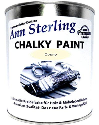 Ann Sterling Kreidefarbe Shabby Chic Farbe: Ivory / Wollweiß / Elfelnbein 1Kg. / 750ml. Lack Chalky Paint