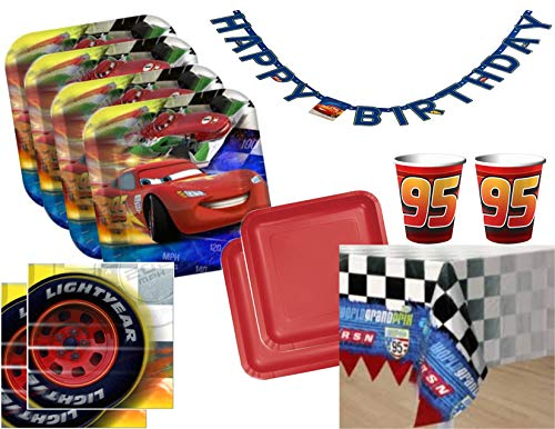 Disney Cars Lightning McQueen Party Supplies for 16 Guests - Value Bundle