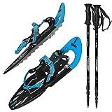 ALPIDEX Raquetas Nieve Ligero Adulto 38-45 Bolsa Transporte Bastones Opcional, Color:Blue con Bastones