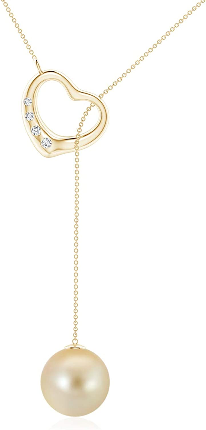 Golden South Sea Cultured Pearl Lariat-Style Heart Necklace (9mm Golden South Sea Cultured Pearl)