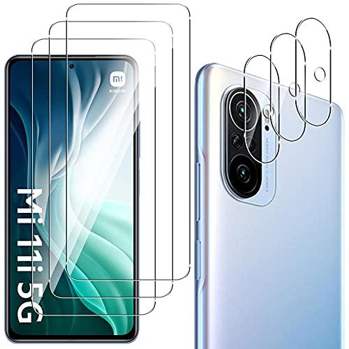 QULLOO Panzerglas Schutzfolie für Xiaomi Poco F3 5G / Xiaomi Mi 11i 5G [3 Stück] + Kamera Panzerglas [3 Stück], 9H Festigkeit Anti-Kratzen Panzerglasfolie für Xiaomi Poco F3 5G / Xiaomi Mi 11i 5G