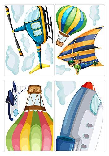 dekodino® Fenstersticker Kinderzimmer Flugzeug und Hubschrauber