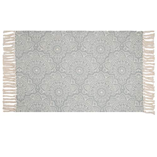 SHACOS Teppich Läufer Baumwolle Waschbar Grau Teppich Outdoor Retro Teppich Mandala Wohnzimmer Flur Handgewebte Vintage Teppiche für Küche