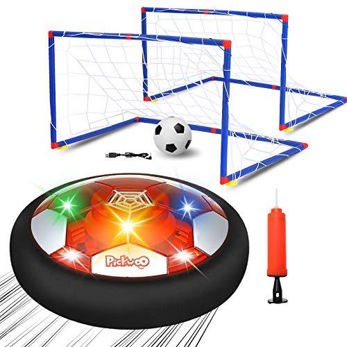 Pickwoo Air Power Fußball Set, USB Hover Power Ball Indoor Football Fussball Spielzeug Schweben Sie Fußball mit Bunt LED Beleuchtung für Kinder Innen&Außen Spielzeug Geschenk für Kinder Jungen Mädchen