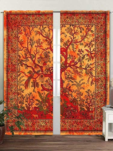 """Real Online Seller Tree Print Curtain Wall Hanging 2 Panels Set 48""""x78"""" Inches Mandala Window Curtains Pair Set of 2 Tapestry Indian Hippie Curtains Bohemian Psychedelic Ombre - Orange"""