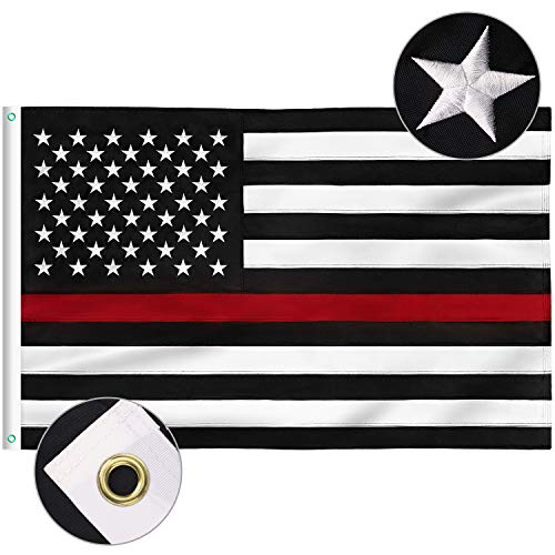 FLAGBURG Thin Red Line Flag, U.S. Flag with Thin Red Line 4x6 FT, Durable 100% Recyclable Nylon Flag with Embroidered Stars and Sewn Stripes,Outdoor Indoors Firefighters Flags with Brass Grommets