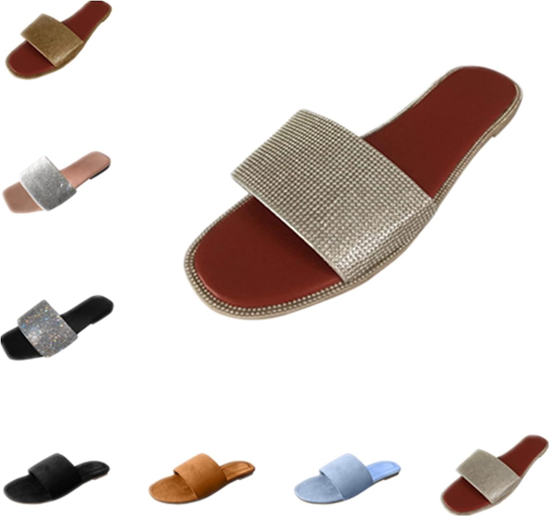 ZiSUGP Women's Flat-Bottom Square Toe Slippers Rhinestone Sandals Slippers