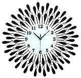 Xinqinghao Reloj De Pared, Pedrería De La Decoración del Hogar del Metal del Hierro Labrado, Negro, 60 * 60, Reloj De Pared Electrónico Silencioso Te mereces Tener