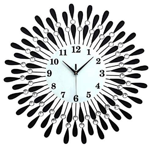 QuXiaoMo Reloj De Pared, Pedrería De La Decoración del Hogar del Metal del Hierro Labrado, Negro, 60 * 60, Reloj De Pared Electrónico Silencioso Hermosa Y Práctica