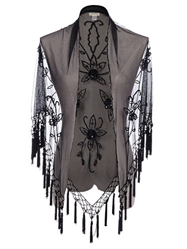 Anna-Kaci Womens See Through Sequin Floral Lace Cover Up Victorian 1920s Wedding Cape Fringed Evening Shawl Wrap, Black Leaves, Small-Medium