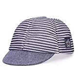 ITODA Sombrero infantil de algodón para bebé, gorro de verano ajustable, para 1 – 2 años de edad, sombrero para niños, niñas, sombrero para el sol, con visera, Azul oscuro (malla)., Talla única