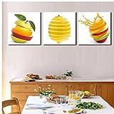 Mmpcpdd 3 Piezas Cuadros De Pared De Cocina Pintura De Frutas Impresión En Lienzo Manzana Verde Y Naranjas Cuadro De Decoración De Comedor Moderno-50X50Cmx3 Sin Marco