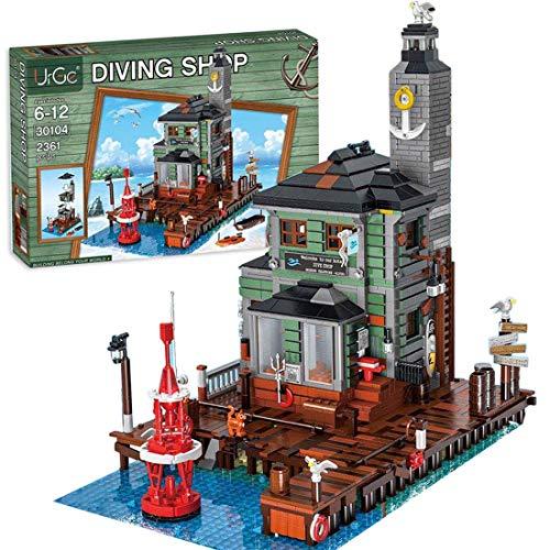 QIXIAOCYB Altes Fischerboothaus Bausteine Kit, Architektur Custom Building Game Set, 3545 Stück Modulares Haus kompatibel mit Legoblöcke (Color : D, Size : Medium)