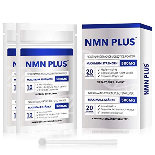 NMN PLUS (paquete de 2) NMN en polvo 500 mg, suplemento de mononucleótido de nicotinamida para antienvejecimiento, longevidad y energía, aumentando naturalmente los niveles de NAD +