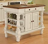Americana White and Distressed Oak Kitchen Island and Stools by Home...
