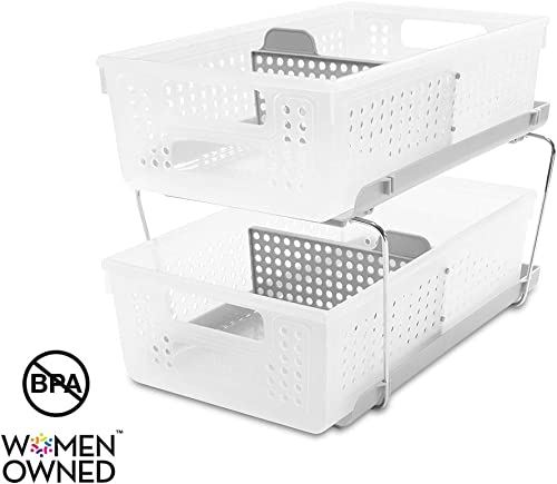 madesmart 2-Tier Organizer with Dividers - BATH COLLECTION Slide-out Baskets with Handles, Space Saving, Multi-purpos...