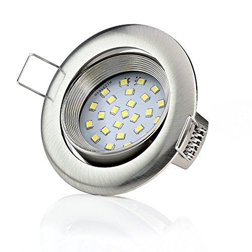 Sweet-led Lot de 6 spots LED encastrables – Ultra plat – 5 W 450 lumen 230 V – lampe ronde avec socle carré pour le plafond, Rund-chrom Gebürstet,3000k 5.0watts 230.00volts