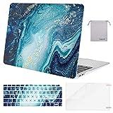 MOSISO Hülle Kompatibel mit MacBook Air 13 2020 2019 2018 Freisetzung A2179 A1932 Retina, Plastik Hülle&Tastaturschutz&Displayschutz&Aufbewahrungstasche Kompatibel mit Mac Air 13, Kreativ Welle Marmor