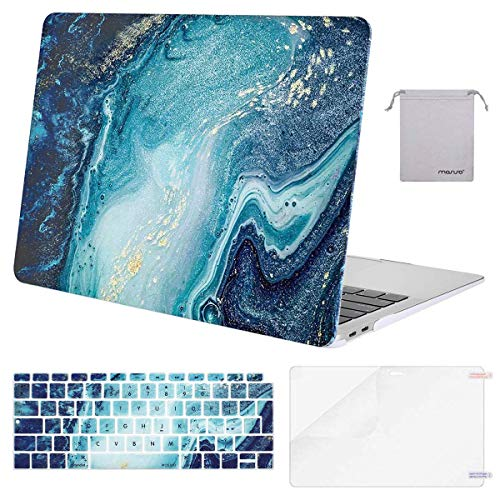 MOSISO MacBook Air 13 inch Case 2020 2019 2018 A2337 M1 A2179 A1932, Plastic Hard Shell&Keyboard Cover&Screen Protector&Storage Bag Compatible with MacBook Air 13 inch Retina, Creative Wave Marble