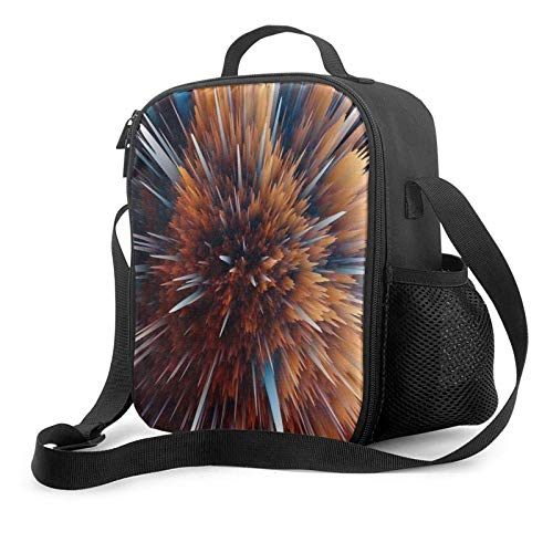 IUBBKII Bolsa de almuerzo con aislamiento Insulated Lunch Bag, Shocking Particle Explosion Pattern Tote Bag Crossbody Bag Reusable Picnic Lunch Bags, 3 Meal Prep Lunch Box For Women Adults Kids Toddle