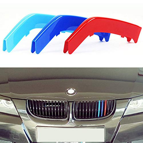 TOPGRIL M-Colored Stripe Grille Insert Trims M Sport Grille Insert Trim Strips For 2003-2008 BMW E90 E91 Pre-LCI 3 Series 325i 328i 330i 335i M3 w/ (12-Beams ONLY)