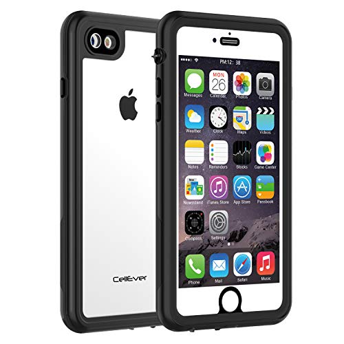CellEver iPhone 7/8 Waterproof Case Shockproof IP68 Certified SandProof Snowproof Full Body Protective Clear Transparent Cover Fits Apple iPhone 7 / iPhone 8 (4.7 Inch) KZ Black