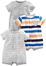 Simple Joys by Carter's Baby Boys' 3-Pack Snap-up Rompers, Stripe, Whale, Tiger, Newborn