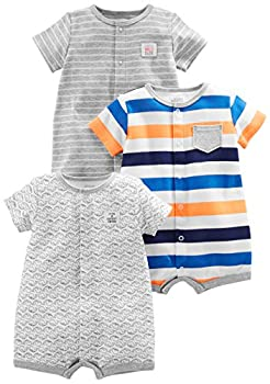 Simple Joys by Carter s Baby Boys  3-Pack Snap-up Rompers Stripe Whale Tiger 0-3 Months